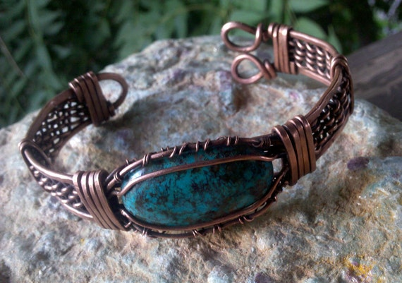 Chrysocolla and Copper Bracelet Celtic Weave