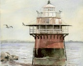 Lighthouse, Plymouth Harbor - Open edition print of an original watercolor (fits 11x14 frame)