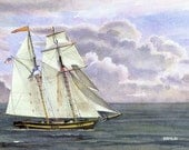 Baltimore Clipper - Open edition print of an original watercolor (fits 11x14 frame)