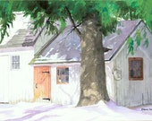 The Red Door - Open edition print of an original watercolor (fits 11x14 frame)
