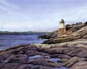 Castle Hill Lighthouse - signed, limited edition print of an original watercolor (fits 11x14 frame)