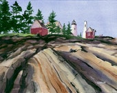 Late Afternoon, Pemaquid Point (Maine) - Open edition print of an original watercolor (fits 11x14 frame)