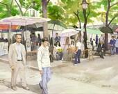 Place du Tertre, Montmartre (Paris, France) - Open edition print of an original watercolor (fits 11x14 frame)