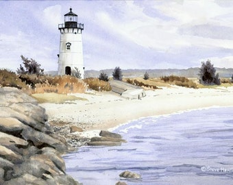 Edgartown Lighthouse - signed, limited edition print of an original watercolor (fits 11x14 frame)