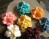 20x Vintage Inspired Resin Little Flat Back Flower Cabochons L (16mm) - Australia Store