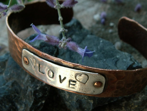 Riveting Love -:- Copper textured cuff with sterling silver LOVE & hearts stamped ID tag, copper rivets.Oxidized, aged finish.