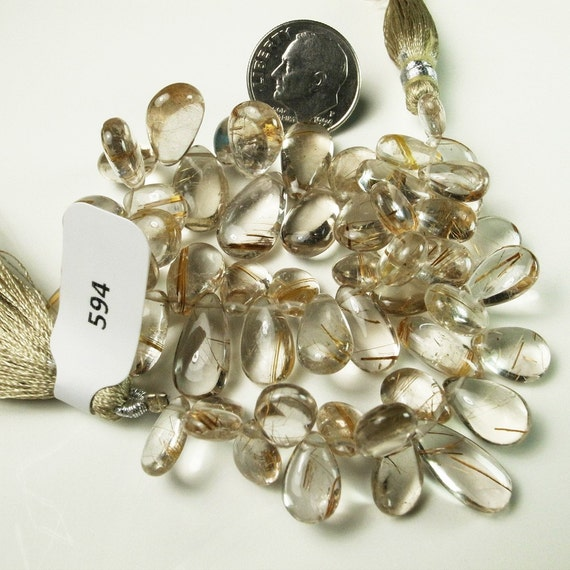 Golden Rutilated Quartz Smooth Polished Briolettes  - 1/2 Strand