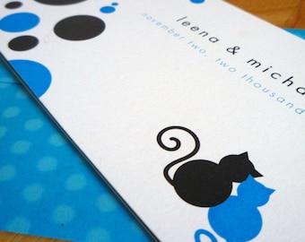 Marvelously Mod Cats w\/ Polkadots - Wedding Invitations