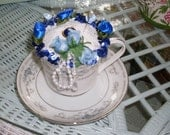 Cup and saucer pincushions