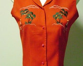 Embroidered Sleeveless Pin Up Blouse - Palms and Sails