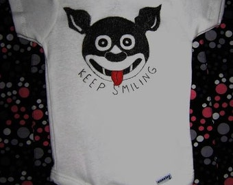 Keep Smiling Dog Retro 3 to 6 Months Baby Onesie