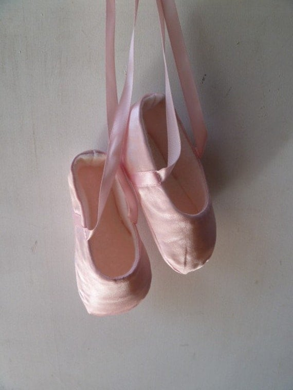 Ballet Shoes for Baby Girl in Pink Satin Custom and Handmade