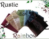35 4x6 Sheer Rustic Rainbow Assortment Organza Bags - Great for Party/ Shower favors- Sachets