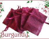 10 8x12 Sheer Wine/ Burgundy Organza  Bags - Great reusable Gift Wrap and Packaging - Eco Friendly