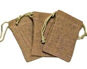 10 3x5 Organic Burlap Drawstring Bags - Great Craft Supply - WEDDINGS- Gift Wrap - Storage- Gift Bags