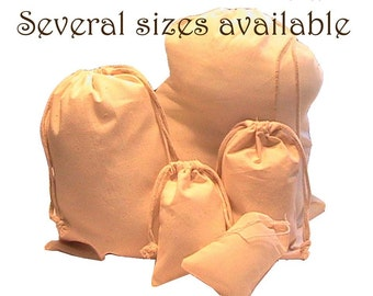 10 6x9 Unbleached -Thick- Muslin bags/ pouches - Rope Drawstring- Great for Party favors Herbs Soaps etc WHOLESALE CRAFT SUPPLY