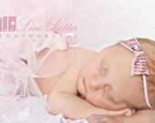 Light pink newborn tutu and sequin bow headband set