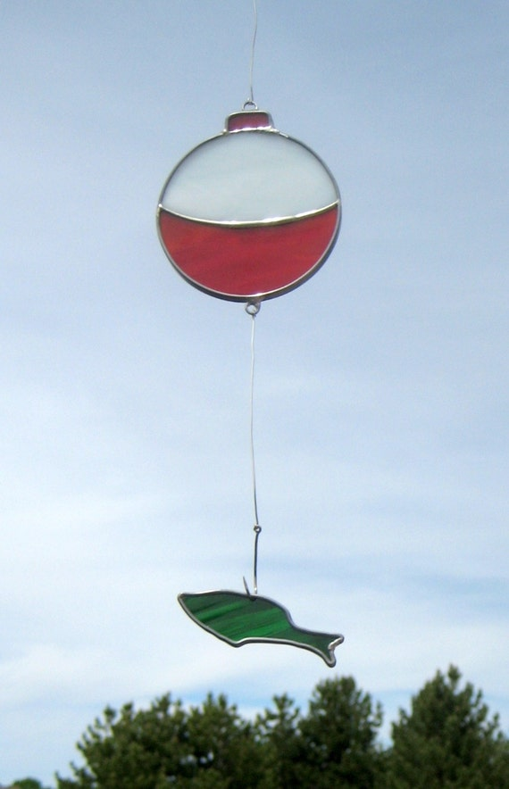 SALE -Stained Glass Bobber and Minnow Suncatcher