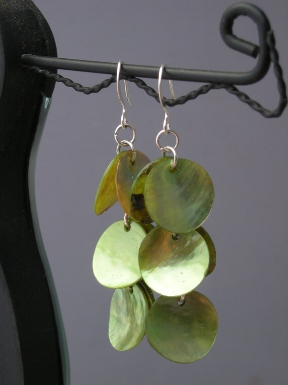 Short Green Shell Earrings on Silver Wires