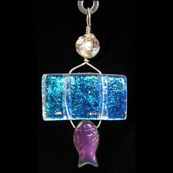 Large Glass Ceiling Fan Pulls: Dichroic Glass Fish Rock Crystal Ceiling Fan Pull Lamp Light
