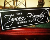 8x24 Painted Personalized Family Name Sign Custom Made Just for you.  Makes a great wedding or anniversary gift