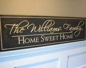 Personalized Family Name Sign 10x36 Painted Custom Made Just for you. Makes a great wedding or anniversary gift