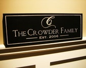 Family Name Established Sign Personalized Carved Engraved 8x24