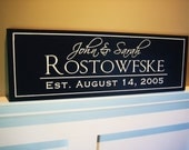 Personalized Family Name Sign Established Plaque. 10x36 Carved Engraved
