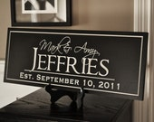 Personalized Family Name Sign Plaque Established 10x24 Carved Engraved Makes a great wedding or anniversary gift