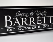 Personalized Wedding Sign Family Name Sign Plaque Established Carved Engraved 8x24