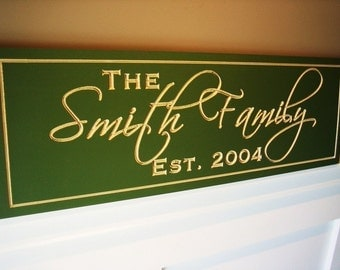 Family Name Sign Carved and Painted Personalized Family Name Sign Plaque 8x24