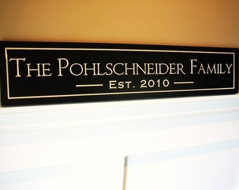 Personalized Family Name Sign Plaque Carved and Painted.  The Perfect Gift for Weddings, Anniversaries, or Christmas