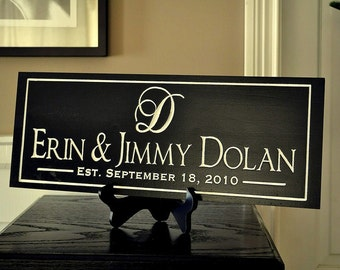 Personalized Family Name Sign Plaque Custom Made Just for you. 10x36 Carved Engraved Makes a great wedding or anniversary gift