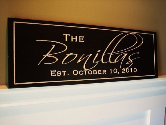 Personalized Family Name Established Sign Plaque Carved Engraved 10x36