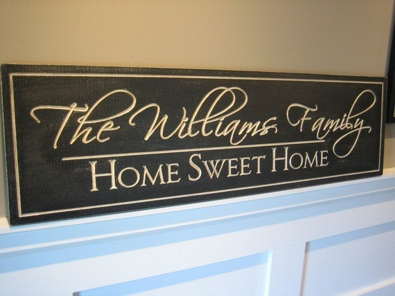 Personalized Family Name Sign 7x20 Painted Custom Made Just for you. Makes a great wedding or anniversary gift