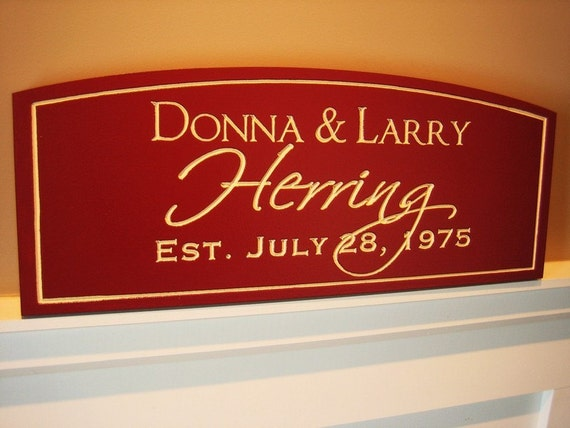Personalized Family Name Sign Plaque Custom Arched Top. 8x20 Carved Engraved Makes a great wedding or anniversary gift