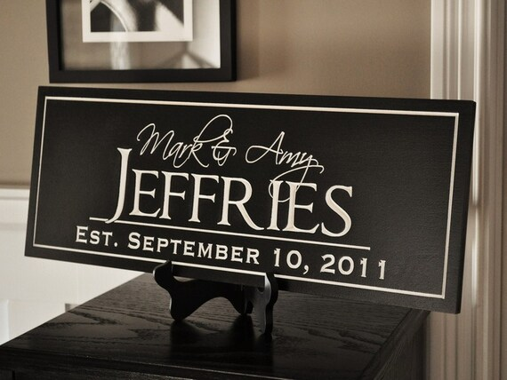 Personalized Family Name Sign Plaque Established Family Sign 8x24 Carved Engraved Custom Last Name Sign