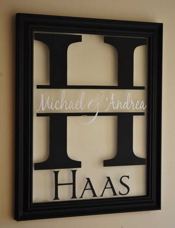 family name sign picture frame wall sign 13x16 overall size