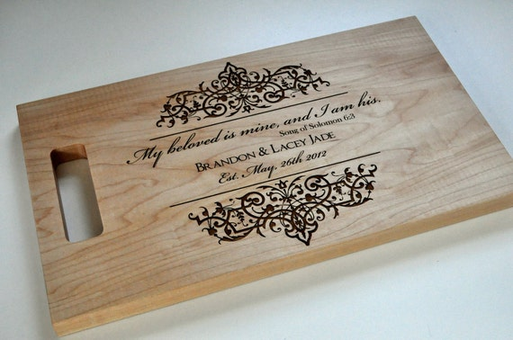 Custom Cutting Board Laser Engraved 8x14 Personalized Wood Cutting Board CB814Jade