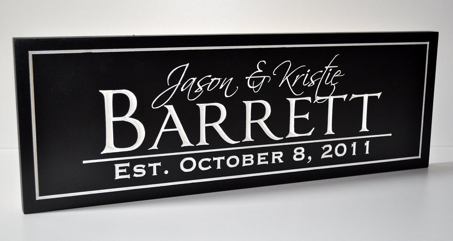 Personalized Wedding Sign Family Name Plaque Established