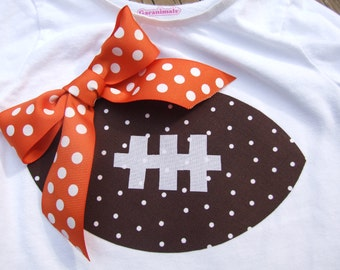 Iron On FOOTBALL Appliques - Solid, Chevron or Dot with your choice color Ribbon