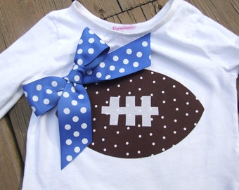 Iron On TEAM SPIRIT Appliques - Football with your choice color  Ribbon