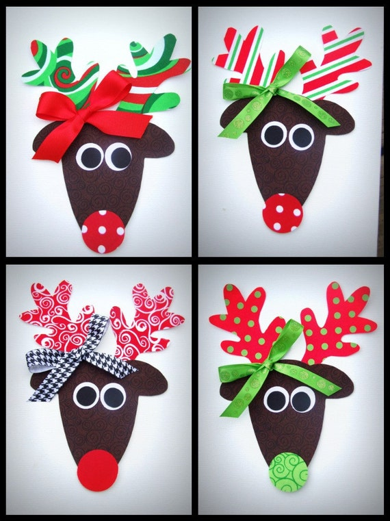 Girl Reindeer Applique Iron on Trendy Girl Reindeer