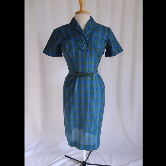 RESERVED -- Vintage 50s Dress Bright Plaid Wiggle Hourglass Belted 1950s Dress with Sexy Pencil Skirting S/M