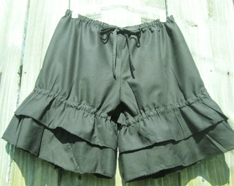Black  bloomers with double wide ruffles Sz small ready to ship