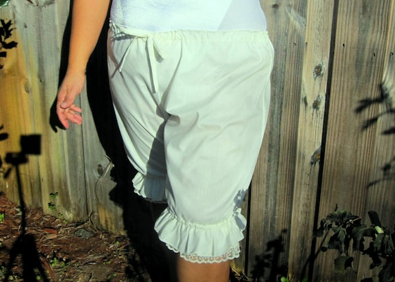 White or off white Pantaloons Knee Length Bloomers with Lace and Ruffles
