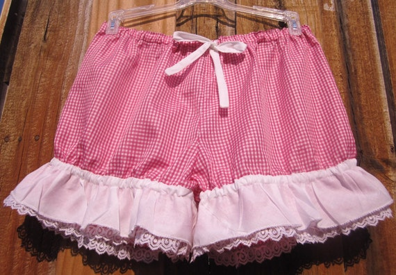 Hot pink and white check bloomers with white ruffles and lace