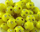 100pcs 8mm Plastic Sparkly Beads Yellow