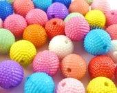 60pcs 12mm Raised Dots Plastic Beads Mixed Colors