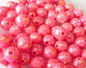80pcs 8mm Disco Ball AB Acrylic Plastic Beads Fuchsia